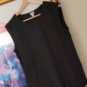 JCrew black sleeveless silk too